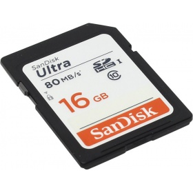 Карта памяти SD 16GB SanDisk SDHC Class 10 UHS-I Ultra 80MB/s