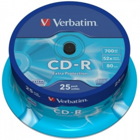 Диск CD-R Verbatim 700Mb 52x DataLife Cake Box (25шт)