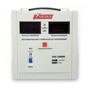 Стабилизатор напряжения POWERMAN AVS 10000D, step-type regulator, digital indicators of voltage levels, 10000VA, 140-260V, maximum input current 50A, terminal block, IP-20, floor, 410mm x 280mm x 310mm, 15.5kg.