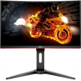 "Монитор 23,6"" AOC C24G1 1920x1080 MVA WLED 16:9 5ms VGA 2*HDMI DP 3000:1 50M:1 178/178 250cd Speakers HAS Swiwel Black/Red"