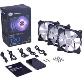 Вентилятор Cooler Master MasterFan Pro 120 Air Flow (MFY-F2DC-113PC-R1), 120mm, 4-Pin (PWM), RGB, 3 pcs + MFP RGB LED Controller