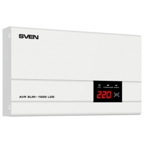 "Стабилизатор SVEN AVR SLIM-1000 LCD (SV-012816), Relay, 800W, 1000VA, 140-260v, the function """"pause"""", single outlet, 2.9 kg."