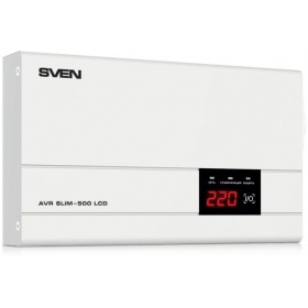 "Стабилизатор SVEN SLIM-500 LCD (SV-012809), Relay, 400W, 500VA, 140-260v, the function """"pause"""", single outlet, 2.35 kg"