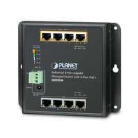 Коммутатор Planet IP30 (WGS-804HPT), IPv6/IPv4, 8-Port 1000TP Wall-mount Managed Ethernet Switch with 4-Port 802.3AT POE+ (-40 to 75 C), dual redundant power input on 48-56VDC terminal block and power jack, SNMPv3, 802.1Q VLAN, IGMP Snooping, SSL, SSH, ACL