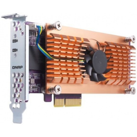 Карта расширения QNAP QM2-2S-220A Dual M.2 22110/2280 SATA SSD expansion card (PCIe Gen2 x2), Low-profile bracket pre-loaded, Low-profile flat and Full-height are bundled (shorter version to support TVS-x82/TS-x77 PCIe slot 2 & slot 3)
