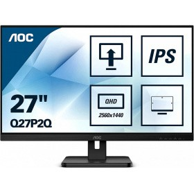 "Монитор 27"" AOC Q27P2Q 2560x1440 75Hz IPS LED 16:9 4ms D-Sub HDMI DP 4*USB3.2 50M:1 1000:1 178/178 300cd HAS Pivot Tilt Swivel Speakers Black"