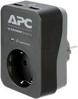 Сетевой фильтр APC PME1WU2B-RS Essential SurgeArrest 1 Outlet 2 USB Ports Black 230V Russia